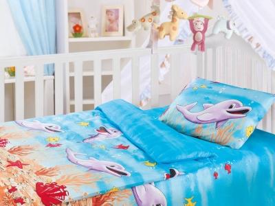 Комплект постельного белья Облачко Ясли Дельфины (арт. 1869031)